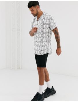 Jack &Amp; Jones Premium Snake Print Revere Collar Shirt In White by Jack & Jones