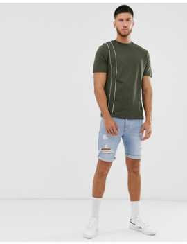 River Island T Shirt In Khaki With White Piping by River Island
