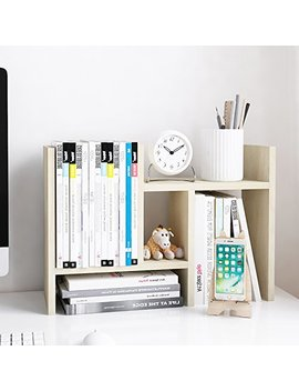 Jerry & Maggie   Desktop Organizer Office Storage Rack Adjustable Wood Display Shelf   Free Style Double H Display   True Natural Stand Shelf   White Wood Tone by Jerry & Maggie