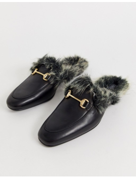 Asos Design Backless Mule Loafer In Black Leather With Faux Fur Lining by Asos Design