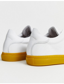 Selected Homme Leather Sneakers With Contrast Yellow Sole by Selected Homme