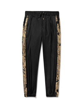 Tapered Striped Wool Blend Drawstring Trousers by Dolce & Gabbana