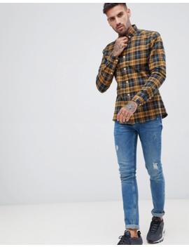 Asos Design Stretch Slim Check Shirt In Navy &Amp; Mustard by Asos Design