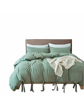 Drefeel Egyptian Quality Vibrant Stone Washed Microfiber Green Duvet Cover Twin Size 2 Pcs Set (1 Duvet Cover, 1 Pillowcase)   Soft Comforter Cover Quilt Case   Solid Bedding by Drefeel
