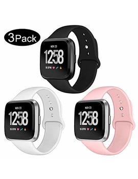 Kmasic Sport Band Compatible Versa/Versa Lite Edition 3 Pack, Soft Silicone Strap Replacement Wristband Compatible Versa Smart Fitness Watch, Large Small by Kmasic