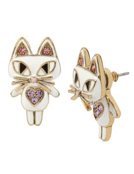 Cat Front/Back Earrings by Betsey Johnson