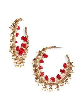 Triple Beaded Hoop Earrings by Oscar De La Renta