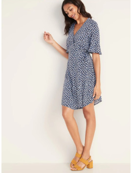 Floral Print Bell Sleeve Wrap Dress For Women by Old Navy
