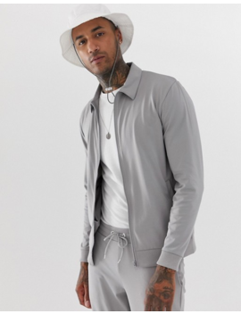 Asos Design Tracksuit With Harrington And Cropped Skinny Sweatpants In Gray Poly Tricot by Asos Design