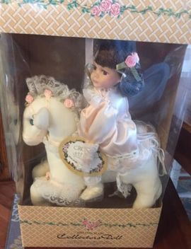 Doll Crowne Fine Porcelain Doll On White Stuffed Horse 1998 Artmark Lace/Roses by Ebay Seller