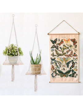Macrame Plant Hanger Outdoor Indoor Herbs Flower Hanging Shelf Bohemian Style by Unbranded