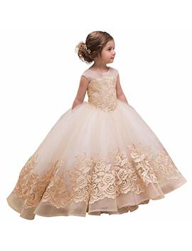 Abao Sisters Elegant Flower Girl Dress For Wedding Kids Sleevelesss Lace Pageant Ball Gowns by Abao Sisters