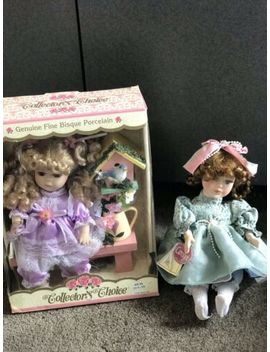 "Fine Bisque Porcelain Music Box Doll  10"" & 8 1/2""  New & Vgc Collector's Choice by Ebay Seller"