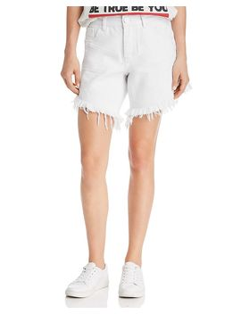 Frankies High Rise Frayed Denim Shorts In White Beauty by One Teaspoon