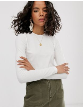 Weekday Fine Ribbed Long Sleeve T Shirt In Off White by Weekday