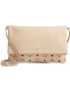 Corina Leather & Visetos Canvas Foldover Crossbody Bag by Mcm