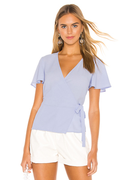 Short Sleeve Wrap Front Flounce Sleeve Blouse by 1. State