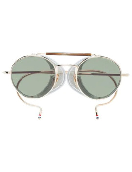 Multicoloured Round Frame Gold Plated Sunglasses by Thom Browne Eyewear