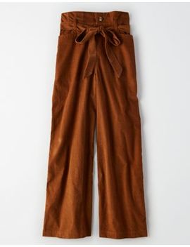 Ae High Waisted Corduroy Paperbag Wide Leg Pant by American Eagle Outfitters
