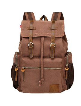 Wowbox 17.3 Inch Laptop Canvas Backpack Unisex Vintage Leather Casual Rucksack School College Bags Satchel Bookbag Large Capacity Hiking Travel Rucksack Business Daypack For Men And Women(Coffee) by Wowbox