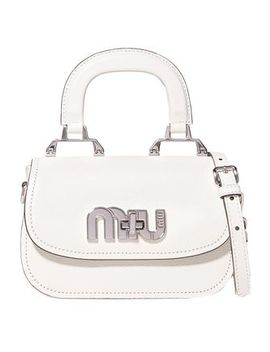 Logo Embellished Textured Leather Shoulder Bag by Miu Miu
