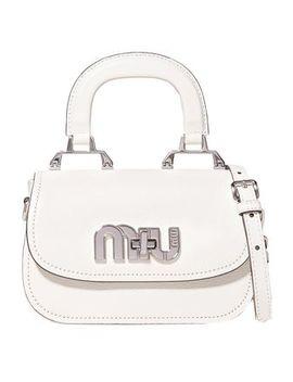Logo Embellished Textured Leather Shoulder Bag by Miu Miu