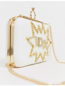 Aldo Malachite White 'i Do' Bridal Rhinestone Clutch Bag by Aldo
