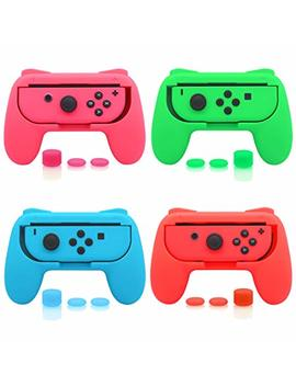4 Pack Fast Snail Joy Con Grip Kit For Nintendo Switch, Wear Resistant Joy Con Grip Controller For Switch With 12 Thumb Grip Caps (Green Pink Blue And Red) by Fastsnail