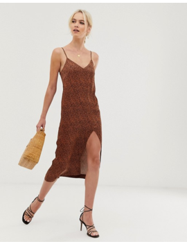 &Amp; Other Stories Dot Print Midi Slip Dress In Rust by & Other Stories