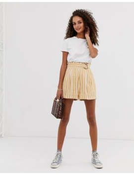 Asos Design Stripe Shorts With Paperbag Waist And Coconut Effect Buckle by Asos Design
