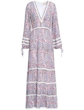 Crochet Trimmed Printed Voile Maxi Dress by Melissa Odabash