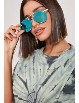 Quay Australia X Nabilla Blue Rebelle White Frame Sunglasses by Missguided