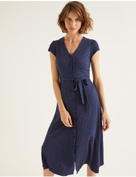Frances Jersey Midi Dress   Navy, Polka Dot by Boden