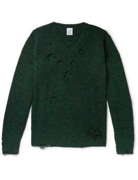 Oversized Distressed Wool Sweater by Vetements