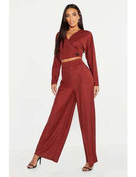 Wrap Front Button Detail Top + Wide Leg Trouser by Boohoo