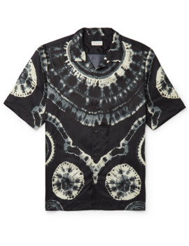 Camp Collar Tie Dyed Satin Twill Shirt by Dries Van Noten