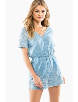 Chance Encounter Chambray Romper by A'gaci