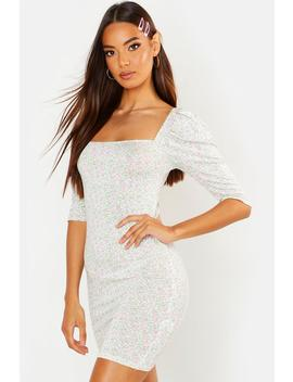 Square Neck Puff Sleeve Bodycon Dress by Boohoo