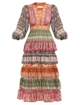 Amari Paisley Print Tiered Voile Dress by Zimmermann