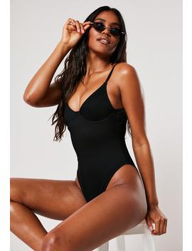 Black Rib Underwire U High Leg Swimsuit by Missguided