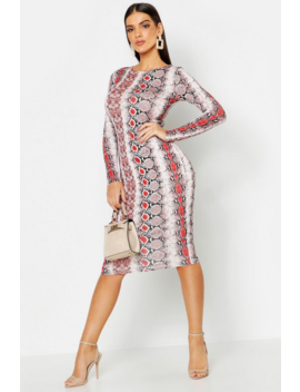 Snake Print Long Sleeve Midi Dress by Boohoo
