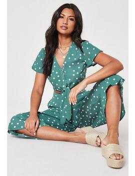 Green Co Ord Polka Dot Button Crop Top by Missguided