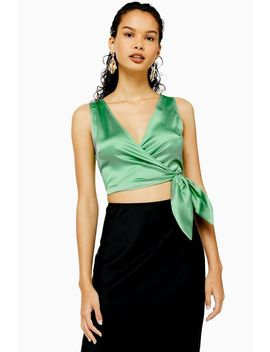 Sleeveless Satin Wrap Top by Topshop