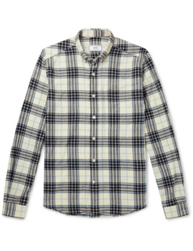 Button Down Collar Checked Cotton Flannel Shirt by Ami