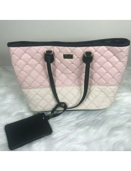 Betsey Johnson New Pink White Black Heart Quilted Large Tote Bag Purse & Wallet by Betsey Johnson