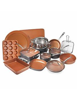 Gotham Steel 20 Piece All In One Kitchen Cookware + Bakeware Set With Non Stick Ti Cerama Copper Coating – Includes Skillets, Stock Pots, Deep Square Pan With Fry Basket, Cookie Sheet And Baking Pans by Gotham Steel