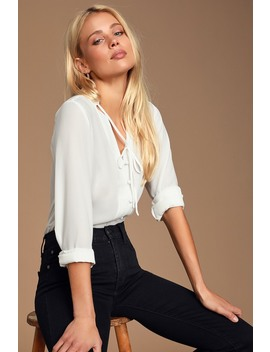 Style Education White Blouse by Lulus