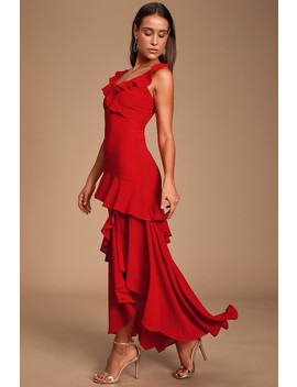 Calle Red Ruffled Sleeveless Maxi Dress by Lulus