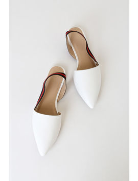 Paxton White Pointed Toe Slingback Flats by Lulu's