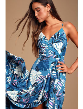 Vacation Days Blue Tropical Print High Low Dress by Lulus